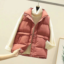 Load image into Gallery viewer, 2019 Women Sleeveless Vest Winter Warm Plus Size 2XL Down Cotton Padded Jacket Female Veats Mandarin Collar Sleeveless Waistcoat