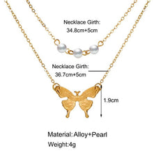 Load image into Gallery viewer, 17KM 2020 Elegant Flower Pearl Choker Necklaces For Women Gold Coin Bow Knot Pendant Necklace Long Chain Jewelry Party Gifts