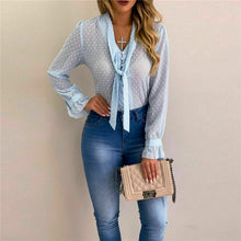 Load image into Gallery viewer, Women Blouses Fashion Long Sleeve V-neck Dots Bowtie Tops and Blouse Shirts Chiffon Office Blouse Loose Casual Transparent Tops