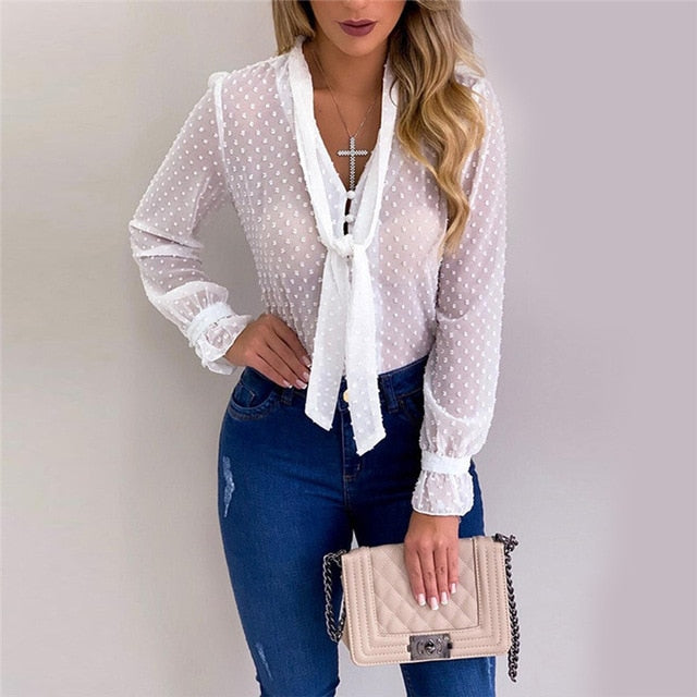 Women Blouses Fashion Long Sleeve V-neck Dots Bowtie Tops and Blouse Shirts Chiffon Office Blouse Loose Casual Transparent Tops