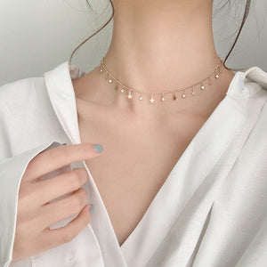 2020 New Double layer Chain Gold Choker Necklace Women Korean Style Pearl Pendant Necklace Fashion Jewelry Collar