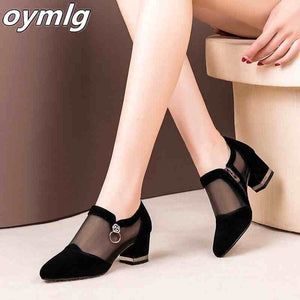 Summer Women High Heel Shoes Mesh Breathable Pumps Zip Pointed Toe Thick Heels Fashion Female Dress Shoes Elegant Footwear