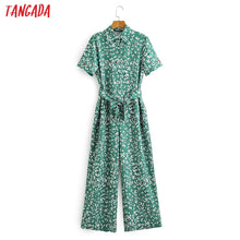 Load image into Gallery viewer, Tangada Women summer leaf print long jumpsuit with slash short Sleeve female casual Jumpsuit pocket 2F07