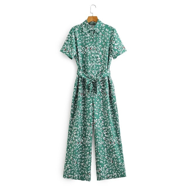 Tangada Women summer leaf print long jumpsuit with slash short Sleeve female casual Jumpsuit pocket 2F07
