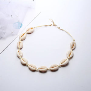 Hot Conch Seashell Necklace Women Jewelry Summer Beach Shell Choker Bohemian Rope Cowrie Beaded Necklaces Handmade Collar Female