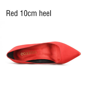 GOXEOU Women's Shoes Satin Pointed Toe High Heels Pumps Slip-On Silk Wedding Party  Office Sexy Fashion Ladies Shoes Size32-46