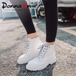 Donna-in Fashion Heeled Woman Ankle Boots Spring Summer Platform Shoes 2020 Lace Up Zip Genuine leather White Matin Boots Female