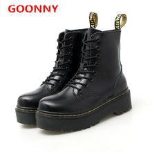 Load image into Gallery viewer, Boots Women High Quality Genuine Leather Shoes Winter British Style Martin Boots Ankle Boots Men Punk Motorcycle Shoes Platforms