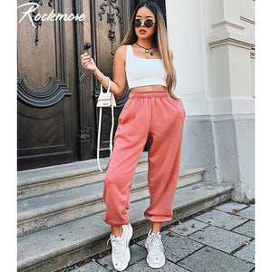 Rockmore Baggy Pencil Pants Women Plus Size Black Winter Wide Leg Sweat Pants Oversized Joggers Streetwear High Waisted Trousers