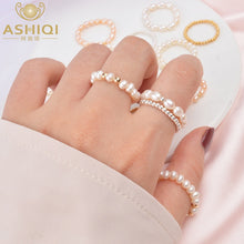 Load image into Gallery viewer, ASHIQI 3-4mm Mini Small Natural Freshwater Pearl Rings for Women Real 925 Sterling Silver Jewelry for Women 2019 Fashion Gift