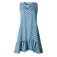 Load image into Gallery viewer, Women Summer Dress Fashion Polka Dot Sleeveless Beach Mini Dress For Women Casual Print Short Loose Blue Sundress 2020 Plus Size