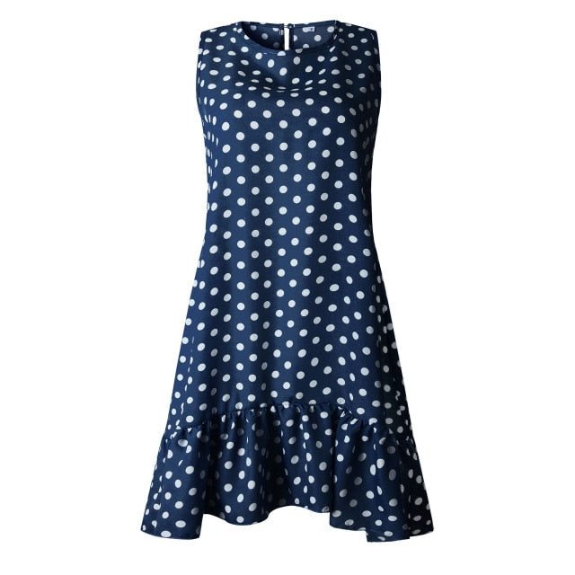 Women Summer Dress Fashion Polka Dot Sleeveless Beach Mini Dress For Women Casual Print Short Loose Blue Sundress 2020 Plus Size