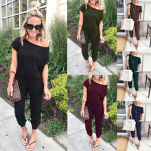 Load image into Gallery viewer, 2019 Spring And Summer Fashion Women Slant Shoulder Casual Pocket Jumpsuit Short Sleeve New Solid Bodysuits Women Rompers