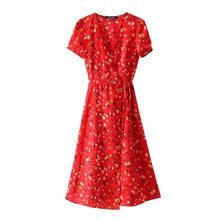 Load image into Gallery viewer, Sweet Red Floral Print A-Line Dress Summer V-Neck Wrap Bow Tie Split Dress 90s Streetwear Casual Dresses Vestido Sundress
