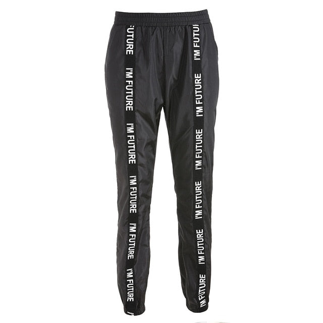 HOUZHOU Sweatpants Trousers Women Hip Hop Loose Jogger Mujer Sporting Elastic Waist Black Casual Combat Streetwear Fashion