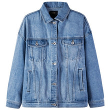 Load image into Gallery viewer, SEMIR Women 100% Cotton Oversized Denim Jacket with Collar woman Denim Jacket with Chest Pocket and Slant Pocket Chic Style