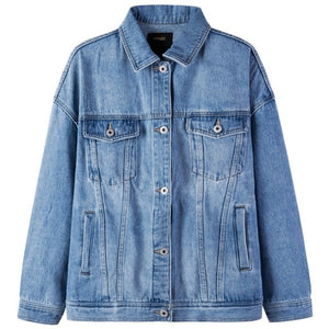 SEMIR Women 100% Cotton Oversized Denim Jacket with Collar woman Denim Jacket with Chest Pocket and Slant Pocket Chic Style