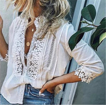 Load image into Gallery viewer, Women Boho Long Sleeve Floral Lace White Tops Blouses Hollow out Beach Elegant Shirt harajuku femme Clothes Summer Party Tops W3