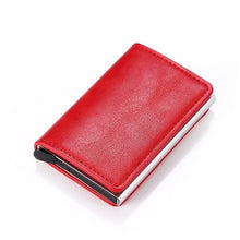 Load image into Gallery viewer, Bycobecy Credit Card Holder Wallet Men Women Metal RFID Vintage Aluminium Bag Crazy Horse PU Leather Bank Cardholder Case New