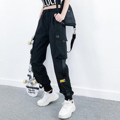 Women Fashion Streetwear Cargo Pants Black Ankle Length Elastic Waist Joggers Female Loose Trousers Casual Plus Size Haren Pants