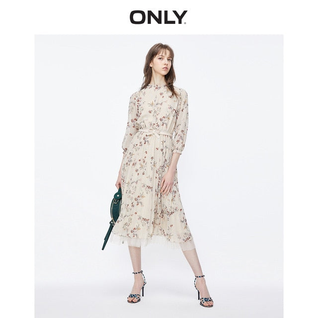ONLY Women's Round Neckline 3/4 Sleeves Floral Gauzy Pleated Chiffon Dress | 119207570