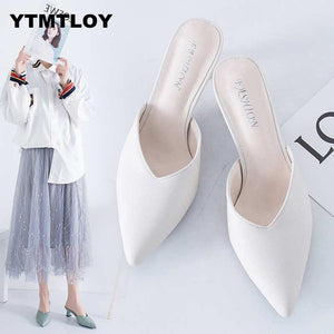 White Spring Office Shoes Women High Heels Pump 5CM Slip on Sandals Sandalias Comfortable Ladies Tenis  White High Heels