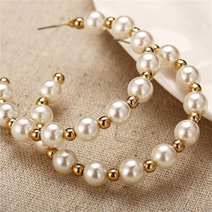 Simple Plain Gold Color Metal Pearl Hoop Earrings Fashion Big Circle Hoops Statement Earrings for Women Party Jewelry