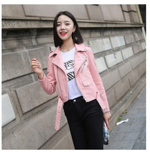 Load image into Gallery viewer, Ftlzz Pu Leather Jacket Women Fashion Bright Colors Black Motorcycle Coat Short Faux Leather Biker Jacket Soft Jacket Female