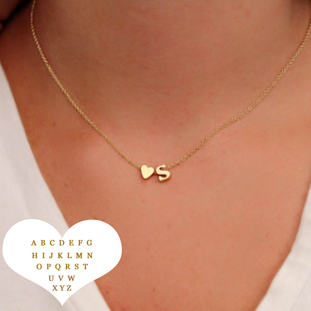 Fashion Tiny Heart Dainty Initial Necklace With Letter Name Choker Chain Necklace Women Gold Color Pendant Jewelry Gift