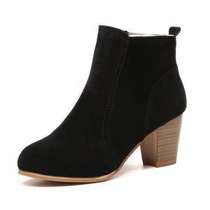 Women Boots Flock Ankle Boots Spring Autumn Women Boots Ladies Party Western Stretch Fabric Boots Q00279