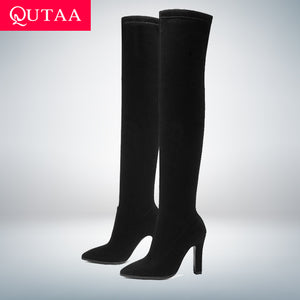 QUTAA 2020 Women Over The Knee High Boots Slip on Winter Shoes Thin High Heel Pointed Toe All Match Women Boots Size 34-43