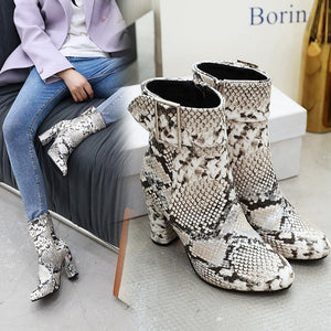 Print Snake Pu Women Ankle Boots Zip Pointed Toe Footwear Buckle Thick High Heels Female Boot Party Shoes Women 2019 Winter New