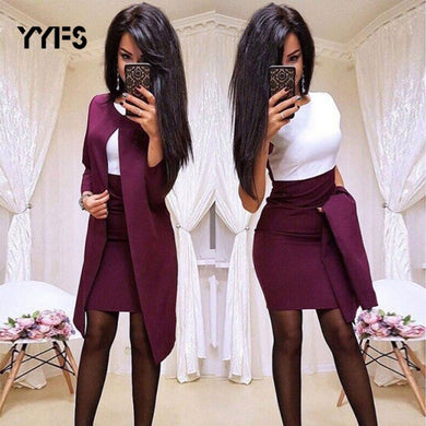 New Sexy Formal Dress Suits Women Long Blazer Jacket+Sheath O-Neck Mini Dress office wear 2 Piece Female Sets trajes de mujer