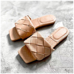 SUOJIALUN 2020 New Brand Slippers Weave Leather Women Sandal Open Toe Flat Casual Slides Summer Outdoor Beach Female Flip Flops