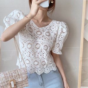 Dingaozlz 2020 New Vintage Summer Tops Women Puff sleeve Hollow out shirt Female Retro Perspective Lace blouse