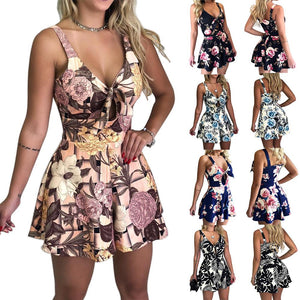 Women's Summer Print Jumpsuit Shorts Casual Loose Short Sleeve V-neck Beach Rompers Sleeveless Bodycon Sexy Party Playsuit