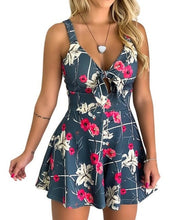 Load image into Gallery viewer, Women's Summer Print Jumpsuit Shorts Casual Loose Short Sleeve V-neck Beach Rompers Sleeveless Bodycon Sexy Party Playsuit