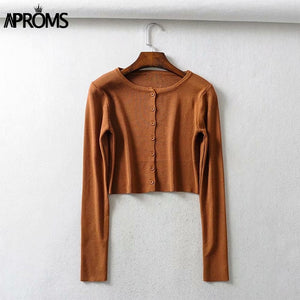 Aproms Candy Color Ribbed Knitted Cardigan Women Autumn Winter Long Sleeve Basic Cropped Sweaters Female Casual Short Jumper Top
