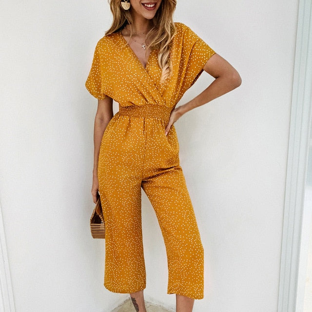 Lossky Women Jumpsuits Rompers Summer Casual Print V Neck Pocket Overa Infiniti Stylz
