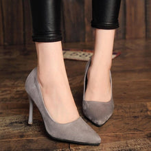 Load image into Gallery viewer, Hot Women Shoes Pointed Toe Pumps Patent Leather Dresshigh Heels Boat Wedding Zapatos Mujer Red wedding Blue Red Black Apricot