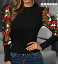Load image into Gallery viewer, Sexy Women Spring Fall Embroidery Floral Shirt Blouses Tops Ol Elegant Mesh See Through Puff Long Sleeve Shirt Patchwork Outwear