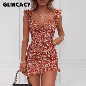 Floral Ruffle Trim Mini Dress Women Bodycon Mini Dress Bohemian Style Beach Dresses