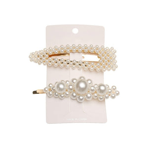 5Pcs/Set Fashion Pearl Hair Clip Snap Button Hair Pins for Women Sweet Pearl Hairpin Hair Clips Jewelry Lady Barrette Stick