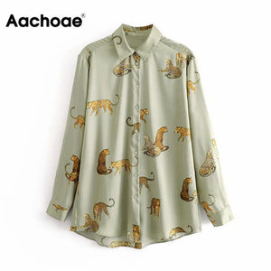 Aachoae Leopard Stylish Shirt Women Turn Down Collar Office Fashion Female Blouse Long Sleeve Plus Size Lady Tops Blusa Feminina