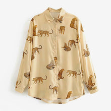 Load image into Gallery viewer, Aachoae Leopard Stylish Shirt Women Turn Down Collar Office Fashion Female Blouse Long Sleeve Plus Size Lady Tops Blusa Feminina