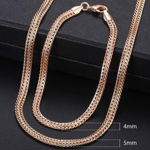 Load image into Gallery viewer, Men Women's Jewelry Set 585 Rose Gold Bracelet Necklace Set Double Curb Cuban Weaving Bismark Chain 2018 Wholesale Jewelry KCS04