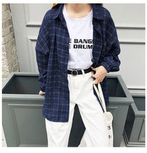 Load image into Gallery viewer, 2019 New Woman Vent Vintage Plaid Shirt Single Breasted Turn down Collar Cotton Long Sleeve Button Feminina Sales T8D512Z