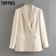 Load image into Gallery viewer, Toppies 2020 white blazer for women summer blazer double breasted jackets ladies formal  suit jackets