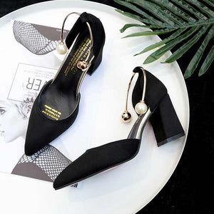 2020 new Korean version wild suede pointed high heels word buckle single shoes sexy comfortable trend high heels ladies shoes