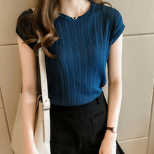 Load image into Gallery viewer, 2020 Summer Ice Silk Knitted Tops Short Sleeve Solid Bright Office Lady Work Causal Silk Shirts Korean Japan Slim Knitwear